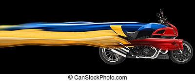senderos, -, ilustración, bicicleta deportiva, velocidad, 3d