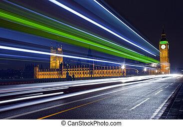 senderos, paso, parlamento, tráfico, casas
