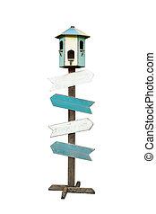 senderos, recorte, de madera, aislado, señal, plano de fondo, flecha, included., blanco