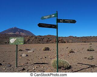 senderos, teide, nacional, senda, parque, tenerife, muestras...
