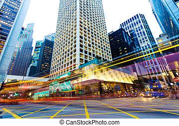 senderos, urbano, noche, tráfico, ciudad