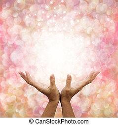Sending Distant Healing Out - Female healer's hands ...