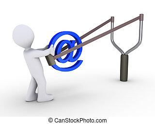 Sending e-mail using slingshot - 3d person is sending e-mail...