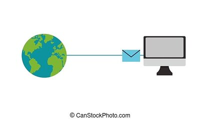 Sending email around the world HD animation