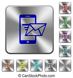 Sending email from mobile phone rounded square steel buttons