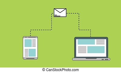 Sending email from smartphone HD animation