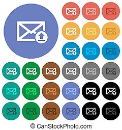 Sending email round flat multi colored icons