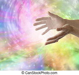 Sending Healing Energy - Female healer with hands out...