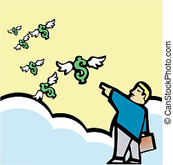 Businessman dispatching money into the sky.