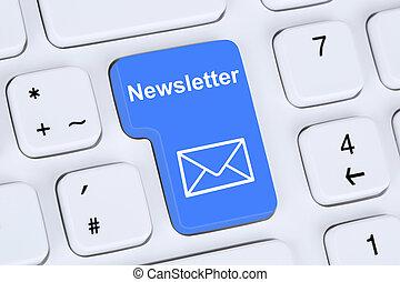 Sending newsletter on internet for business marketing...
