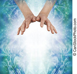 Sending out loving Energy - Female hands hovering above a...