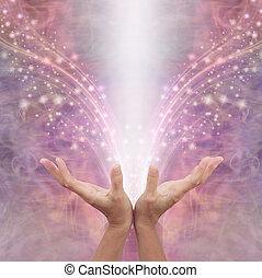 Sending out Reiki healing energy across the ether - female ...