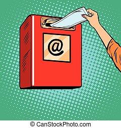 Sending paper letters Inbox pop art retro vector. Icon send e-mails.