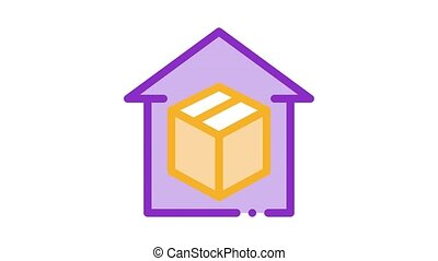 sending parcel Icon Animation. color sending parcel animated icon on white background