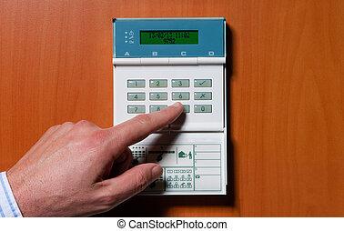 sendo, ativado, alarmsystem