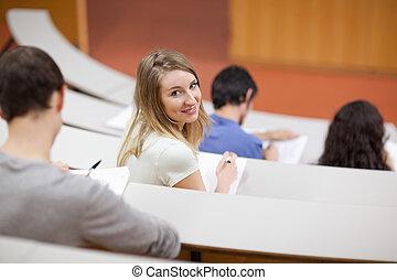 sendo, distraído, jovem, estudante
