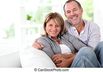 sendo, par, alegre, lar, sênior, desfrutando