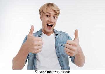 sendo, positivo, encantado, pessoa, muito, macho, contente
