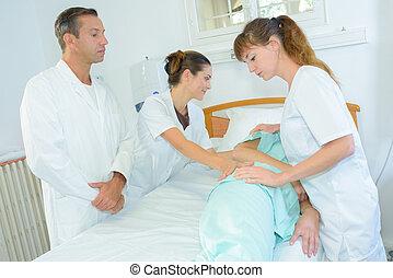 sendo, rolado, hospitalar, paciente, cama