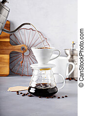 sendo, sobre, feito, café, despeje