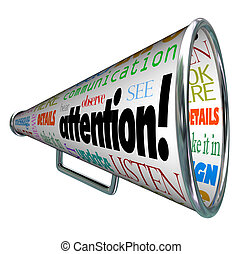 sends, attention, avertissement, bullhorn, message, porte ...