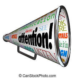 sends, attenzione, avvertimento, bullhorn, messaggio, megafono