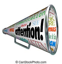 sends, figyelem, figyelmeztetés, bullhorn, üzenet, hangszóró