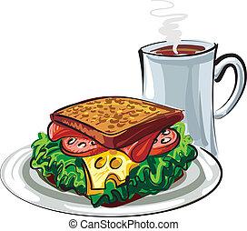 sendvič, a, zrnková káva