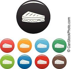 sendvič, ikona, dát, barva, vektor