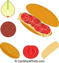 sendvič, s, rajče