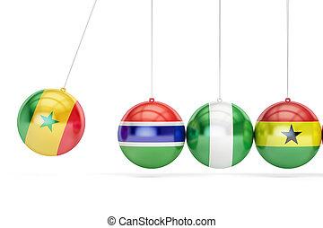 Senegal and Gambia, Nigeria, Ghana war conflict concept. 3D rendering