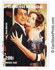 SENEGAL - CIRCA 1998 : Stamp printed in Senegal with popular actor Dean Martin, circa 1998