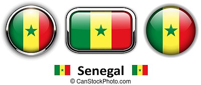 Senegal flag buttons, 3d shiny vector icons.