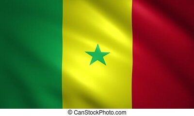 Senegal flag moves in the wind