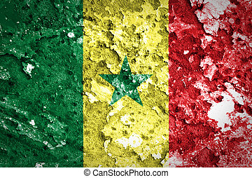 Senegal flag painted on concrete wall