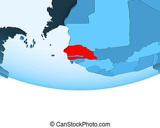 Senegal in red on blue map