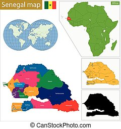 Senegal map - Administrative division of the Republic of...