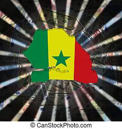 Senegal map flag on currency burst illustration