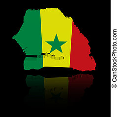 Senegal map flag with reflection illustration
