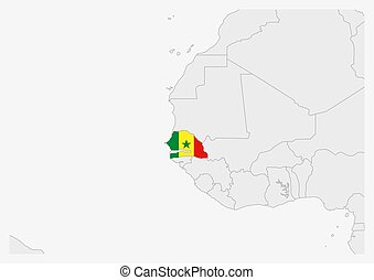 Senegal map highlighted in Senegal flag colors, gray map with neighboring countries.