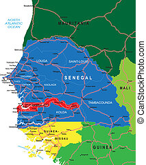 Highly detailed vector map of Senegal with administrative regions, main cities and roads.