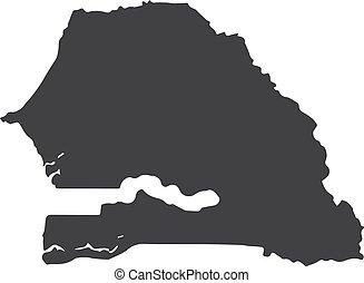 Senegal map in black on a white background. Vector illustration