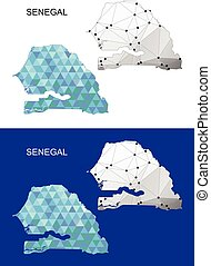 Senegal map in geometric polygonal