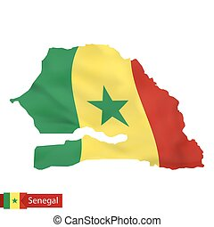 Senegal map with waving flag of country.