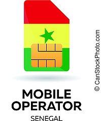 Senegal mobile operator. SIM card with flag. Vector illustration.