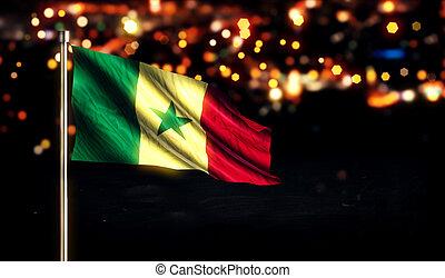 Senegal National Flag City Light