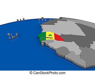 Senegal on 3D globe