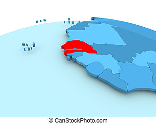 Senegal on blue political globe