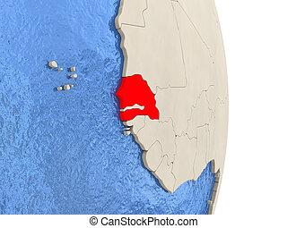 Senegal on model of political globe