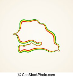 Senegal - Outline Map - Outline map of Senegal marked with...